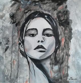 Ritratto-di-giovane-Donna--tecnica-mista-50-x-50