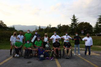 La famiglia Balbinot con Tiziano Pasquali, Sammy Basso, Giusy Versace, Andrea Ciccolella, Giordano Giordani e i 4Cats Wheelchair Rugby Vicenza